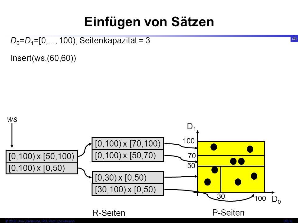 Einfügen von Sätzen D0=D1=[0,..., 100), Seitenkapazität = 3